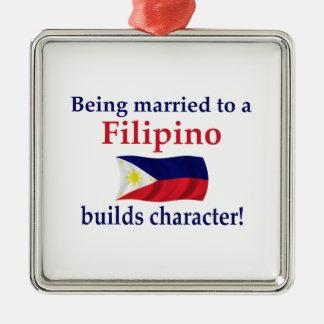 Filipino Builds Character Silver-Colored Square Ornament