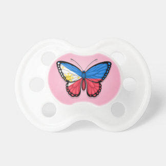 Filipino Butterfly Flag on Pink Baby Pacifiers