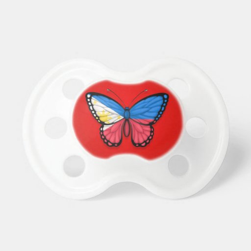 Filipino Butterfly Flag on Red Pacifier