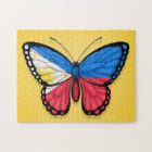 Filipino Butterfly Flag on Yellow Jigsaw Puzzle