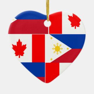 Filipino-Canadian.png Ceramic Heart Ornament