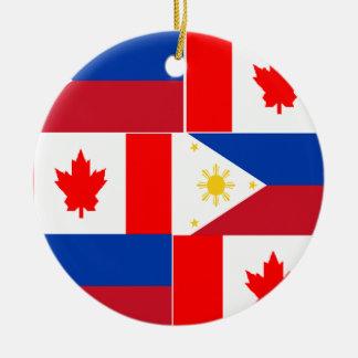 Filipino-Canadian.png Round Ceramic Ornament