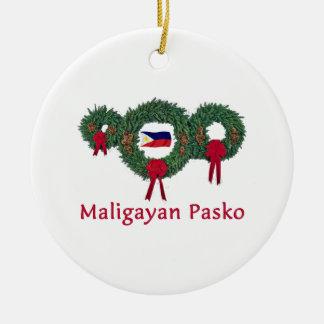 Filipino Christmas 2 Round Ceramic Ornament