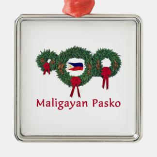 Filipino Christmas 2 Silver-Colored Square Ornament