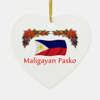 Filipino Christmas Ceramic Heart Ornament