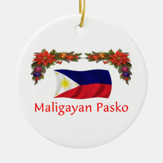 Filipino Christmas Round Ceramic Ornament