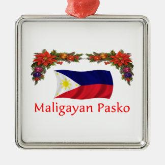 Filipino Christmas Silver-Colored Square Ornament