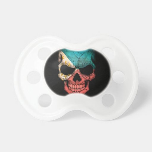 Filipino Flag Skull on Black Baby Pacifiers