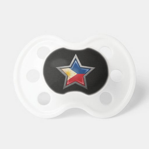 Filipino Flag Star with Steel Mesh Effect Pacifier