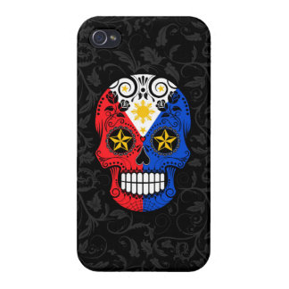 Filipino Flag Sugar Skull with Roses Covers For iPhone 4