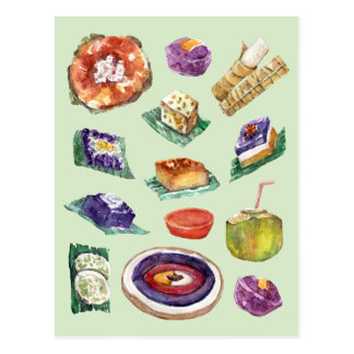Filipino Food Delicacies in Watercolor Pinoy Postcard