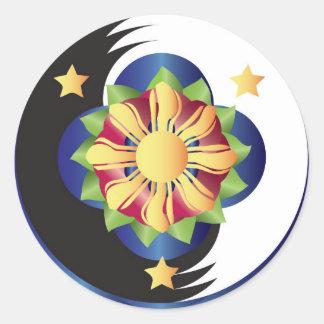 Filipino Lotus Flower Mandala Classic Round Sticker