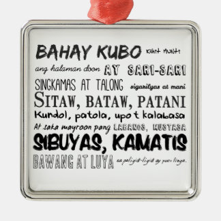 Filipino Nursery Rhyme Series Silver-Colored Square Ornament