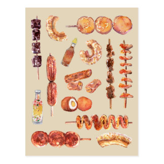 Filipino Street Food in Watercolor Pinoy Postcard