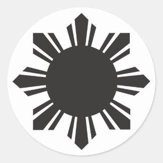 Filipino Sun - Black Classic Round Sticker