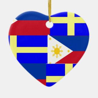 FILIPINO-SWEDISH CERAMIC HEART ORNAMENT