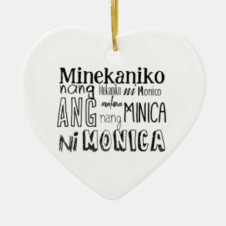 Filipino Tongue Twister Series Ceramic Heart Ornament