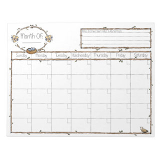 Fill in the Blank Calendar Notepad