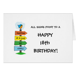 Fill-In The Signs Fun 18th Birthday Card