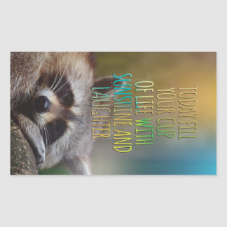 Fill Your Cup Of Life Raccoon Motivational Quote Sticker