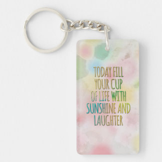 Fill Your Cup Of Life Watercolor MotivationalQuote Keychain