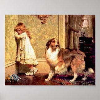 Fille avec l animal familier Sheltie Un défense Posters