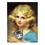 Fille avec le chaton : Peinture vintage par E. Cab Carte Postale