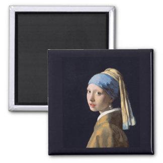 Fille avec une boucle d'oreille de perle, Vermeer Magnet Carré