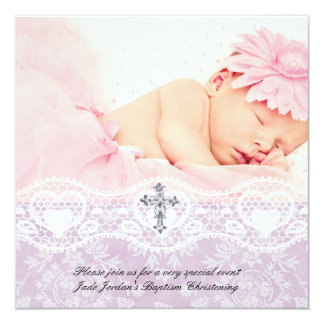 Fille blanche lilas de croix de bijou de photo de carton d'invitation  13,33 cm