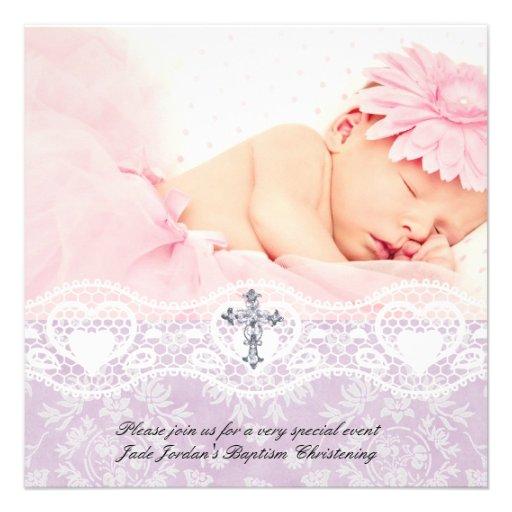 Fille blanche lilas de croix de bijou de photo de faire-parts