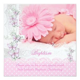 Fille blanche rose de croix de papillon de photo faire-part personnalisés