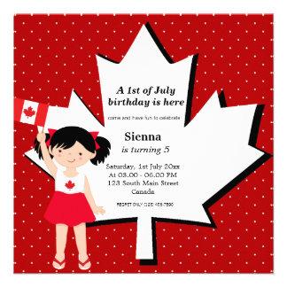 Fille canadienne d'anniversaire carton d'invitation