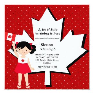 Fille canadienne d'anniversaire carton d'invitation  13,33 cm