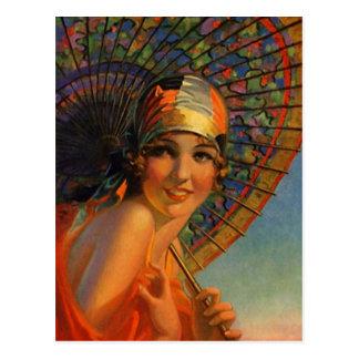 Fille d'aileron de mandarine de robe et carte carte postale