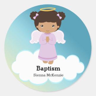 Fille d'ange de baptême sticker rond