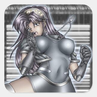 Fille d'Anime de Cyber Stickers Carrés