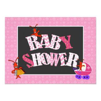 Fille de baby shower de Patchwork Fleur de Lis Carton D'invitation 13,97 Cm X 19,05 Cm