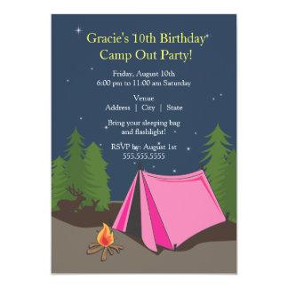 Fille de la fête d'anniversaire de camping | carton d'invitation  12,7 cm x 17,78 cm