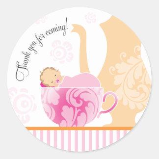Fille de l'autocollant | de faveur de thé de baby sticker rond