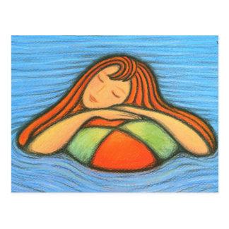 Fille de natation cartes postales