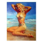 Fille de pin-up blonde cartes postales