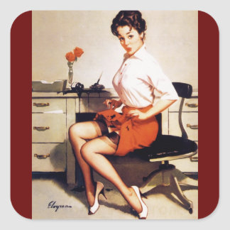 Fille de pin-up d entreprise de bureau vintage de sticker carré