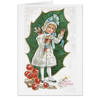 Fille démodée de baie de houx de Noël Carte De Vœux