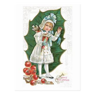 Fille démodée de baie de houx de Noël Carte Postale