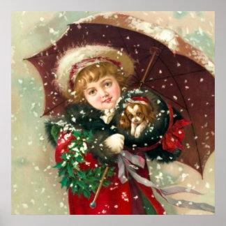 Fille d'hiver de Maud Humphrey avec le chien Affiches