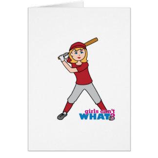 Fille du base-ball carte de vœux