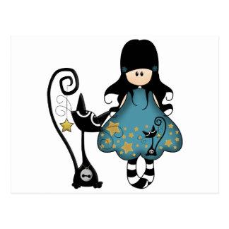 Fille Girly de Goth avec le chat noir Carte Postale