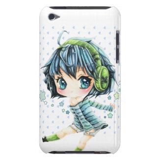 Fille mignonne d'anime avec l'écouteur vert coques iPod Case-Mate