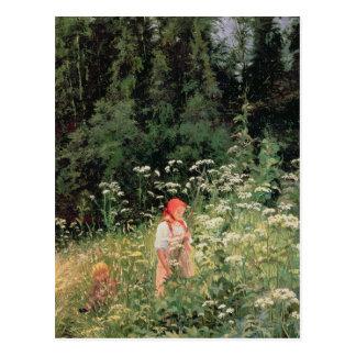 Fille parmi les fleurs sauvages, 1880 carte postale