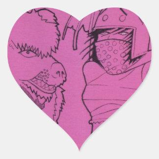 Fille rose de fantôme et ours fâché sticker cœur
